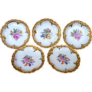 Beautiful Germany 1930-40's Hand Painted Mixed Flowers Set of 5 Floral Butter Pats