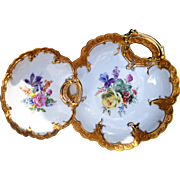 "Gorgeous Germany 1930-40's Hand Painted ""Mixed Flowers"" One-Handle Floral Bowl & One-Handle Floral Nappy"