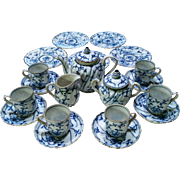 "Outstanding German Royal Bayreuth 1900 Hand Painted ""Blue Onion"" 22 Pc. Child's Tea Set"