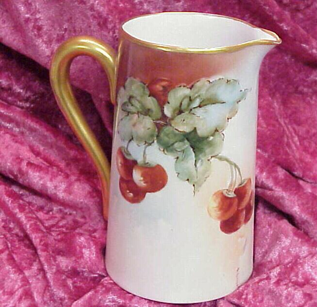 "Vintage 1900 Bavarian HP ""Red & Purple Grapes"" 6"" Pitcher"