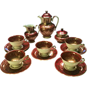 Gorgeous AK-KL Kunst Kronach Bavaria 1950's Hand Painted Burgundy & Gold Leafing 16 Pc Tea Set