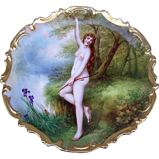 """Exquisite B & H France Limoges 1900 Hand Painted """"Diana the Huntress"""" Goddess of the Hunt 13-1/2"""" Rococo Scenic Nude Charger by the Listed French Artist, """"DuBois"""""""