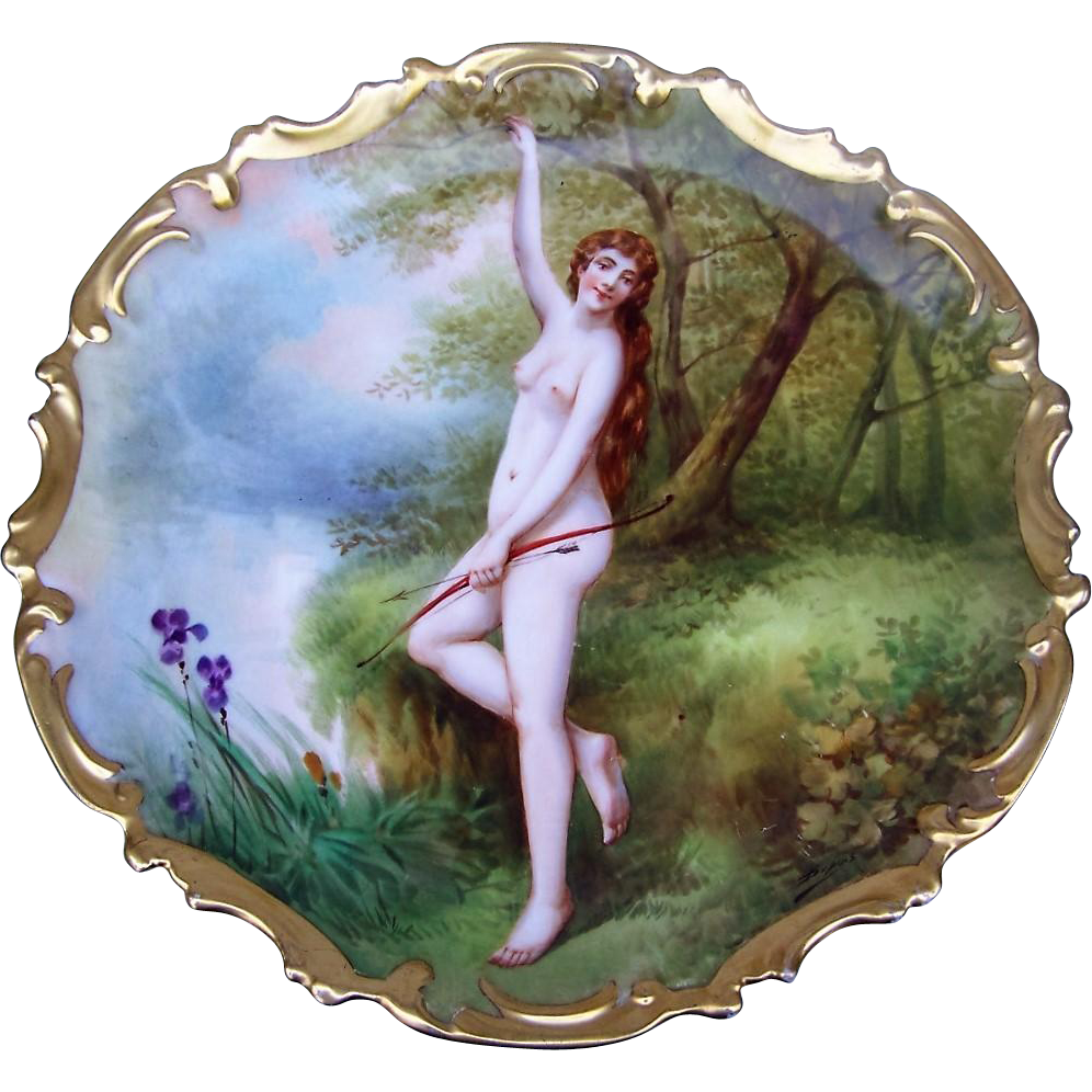 "Exquisite B & H France Limoges 1900 Hand Painted ""Diana the Huntress"" Goddess of the Hunt 13-1/2"" Rococo Scenic Nude Charger by the Listed French Artist, ""DuBois"""