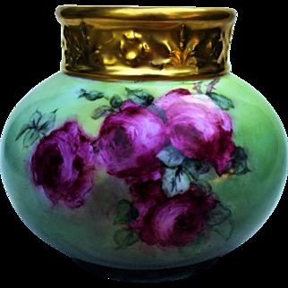 """Gorgeous J.P.L. France Limoges Vintage 1900 Hand Painted """"Deep Red Roses"""" Floral Vase"""