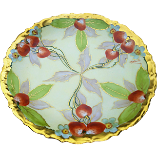 """Stunning D & Co. France & Julius Brauer Studio of Chicago 1900's Hand Painted """"Strawberry Clusters"""" 8-1/2"""" Fruit Plate by Listed Artist, """"A. Burton"""""""