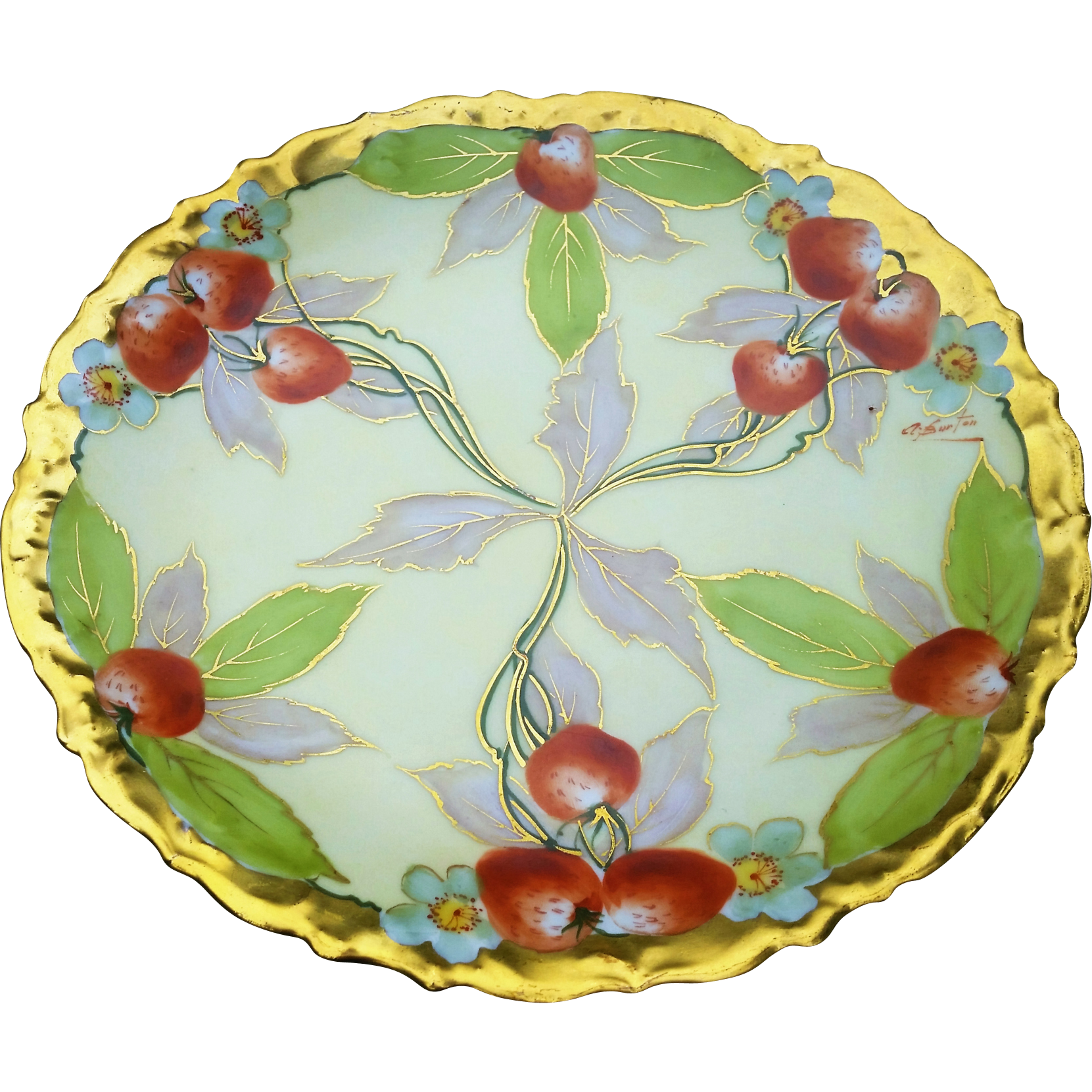"Stunning D & Co. France & Julius Brauer Studio of Chicago 1900's Hand Painted ""Strawberry Clusters"" 8-1/2"" Fruit Plate by Listed Artist, ""A. Burton"""