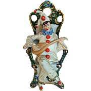 "WKC Graefenthal Germany Porcelain Vintage 1900's Hand Painted ""Jester Playing A Mandolin"" 6-1/4"" Figurine"