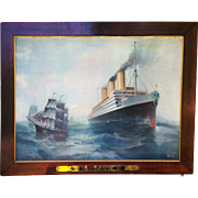 "Fabulous Hamburg-American Lines 1911 ""SS Imperator"" Ocean Liner 45"" x 36"" Scenic Lithograph On Tin by ""Albert F. Bishop"""