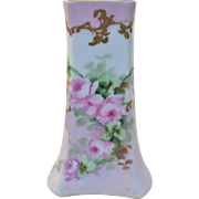"Gorgeous Austria 1900's Hand Painted ""Pink Roses"" 5-1/2"" Tapered Floral Vase"