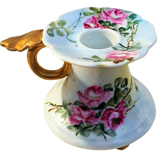 """Beautiful Vienna Austria 1900's Hand Painted """"Red Roses"""" Footed Chamberstick by the Artist, """"Sadie Foot"""""""