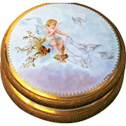 "Spectacular Limoges France 1900's Hand Painted ""Cherub Driving A Chariot of Doves"" 8"" Dresser Box Casket, by the Artist, ""A.G. Kettle"""