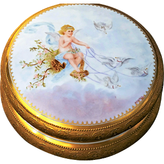 """Spectacular Limoges France 1900's Hand Painted """"Cherub Driving A Chariot of Doves"""" 8"""" Dresser Box Casket, by the Artist, """"A.G. Kettle"""""""
