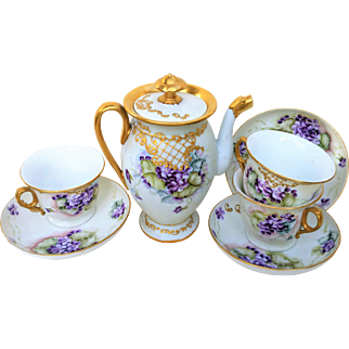 "Wonderful Limoges France 1900's Hand Painted Vibrant ""Violets"" 8 Pc. Floral Tea Set"