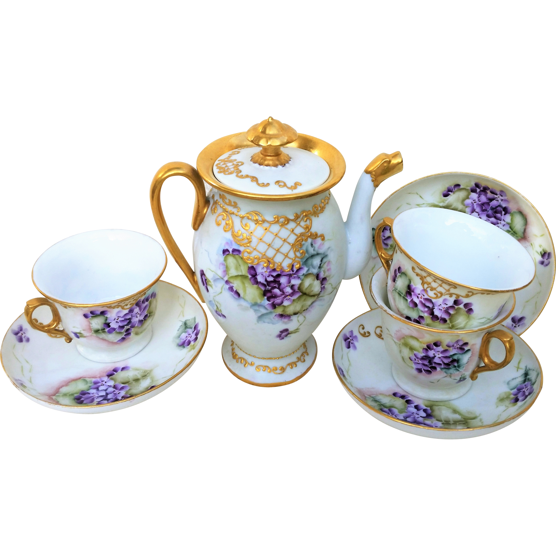 "Wonderful Limoges France 1900's Hand Painted Vibrant ""Violets"" 8 Pc. Floral Tea Set"