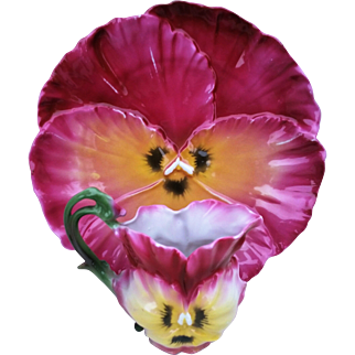 """Gorgeous Royal Bayreuth 1900's Hand Painted """"Hot Pink & Orange Pansy"""" 8-1/4"""" Floral Plate"""