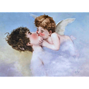 "Beautiful Limoges France 1893 Hand Painted ""Lady Kissing A Cherub"" 16""x 13"" Rococo Framed Scenic Plaque by Artist, ""A.F.M."""