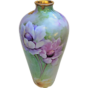 """Spectacular Vintage Ginori 1920's Hand Painted Lavender, Pink, & Yellow Floral 12-1/2"""" Vase by the Artist, """"G. Srudi"""""""