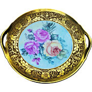 "Beautiful B & Co. Limoges France 1900's Hand Painted ""Roses"" 10-1/2"" Floral Plate by the Artist, ""F. Hanley"""