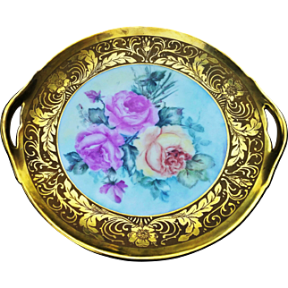 """Beautiful B & Co. Limoges France 1900's Hand Painted """"Roses"""" 10-1/2"""" Floral Plate by the Artist, """"F. Hanley"""""""