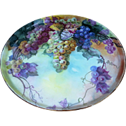 "Fabulous Large 16"" T & V Limoges France 1900's Hand Painted ""Purple, Lavender, Red, Yellow, & Green Grapes"" Colorful Tray"