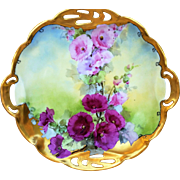 "Incredible Bavaria & Julius Brauer Studio of Chicago 1905 Hand Painted Vibrant ""Red & Pink Poppies"" 10-1/4"" Reticulated & Heavy Gold Floral Plate by ""J.H. Brauer"""