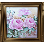 "Beautiful Wheeling Pottery Co. 1900's Hand Painted ""Pink Roses"" 7-3/4"" x 7-3/4"" Tile"