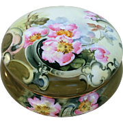 "Gorgeous Limoges France 1900's Hand Painted ""Pink Poppies"" 7"" Floral Dresser Box Casket by the Artist, ""O.V. White"""