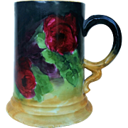 "Gorgeous Rosenthal Bavaria 1900's Hand Painted ""Deep Red Roses"" 5"" Floral Tankard Stein by Artist, ""G.S. Hyde"""