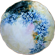 "Exceptional Omhe Germany 1900's Hand Painted ""Forget Me Not"" Floral Plate by the Artist, ""Dubois"""
