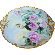 "Gorgeous Haviland France 1904 Pretty ""Pink Roses"" 13-1/8"" Floral Charger by Artist, ""Bertha Nell Crum"""