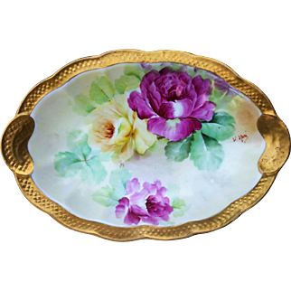 "Outstanding Vintage Ginori 1900's Hand Painted Vibrant ""Red & Yellow Roses"" Scallop Tray by the Artist, ""V. Neri"""