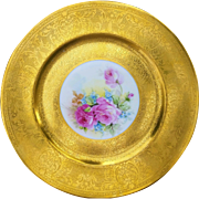 "Beautiful Selb Bavaria 1900's Hand Painted ""Red & Pink Roses"" Heavy Gilded Gold 11"" Floral Plate"