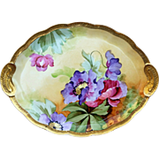 "Gorgeous Ginori 1900's Hand Painted Vibrant ""Purple & Red Pansies"" 10-5/8"" Floral Dresser Tray by Artist, ""A.B."""