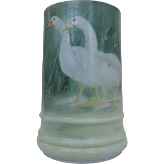 "Superb T & V Limoges France 1900's Hand Painted ""White Geese"" Tankard Stein by the Artist, ""Woodward"""