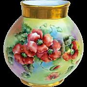 """Fabulous JPL Limoges France 1900's Hand Painted Vibrant """"Burnt Orange Poppy"""" 10-1/4"""" Floral Pillow Vase"""