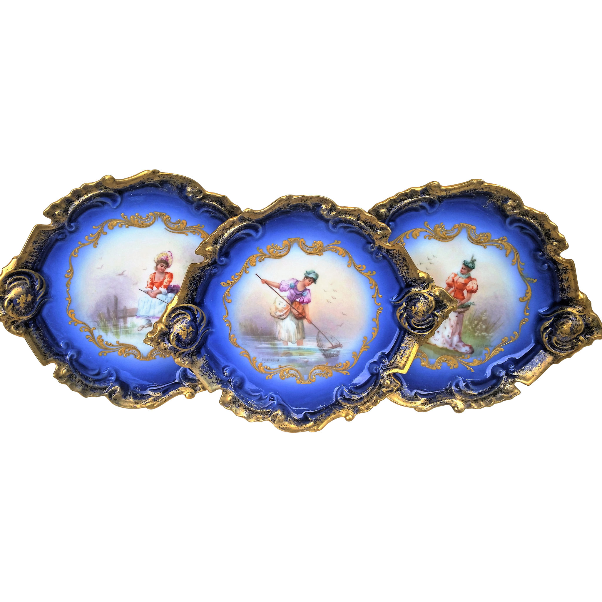"Spectacular Limoges France 1900 Hand Painted ""Lady Net Fishing"" Fancy Scallop Scenic Cobalt Blue Plate by the Artist, ""Issenchou"""