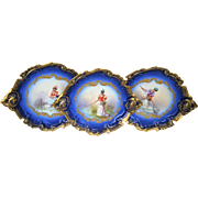 "Exquisite Limoges France 1900 Hand Painted ""Lady Fishing In A Pond"" Fancy Scallop Scenic Cobalt Blue Plate by the Artist, ""Issenchou"""
