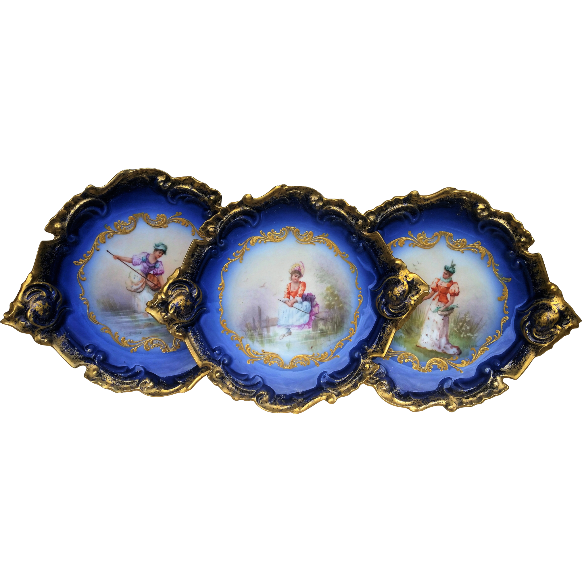 "Beautiful Limoges France 1900 Hand Painted ""Lady Fishing On The Dock"" Fancy Scallop Scenic Cobalt Blue Plate by the Artist, ""Issenchou"""
