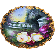 "Beautiful Limoges France 1900's Hand Painted ""Serene Rose Garden"" Rococo Charger by the Outstanding Master French Artist, ""A. Soustre"""