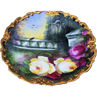 """Beautiful Limoges France 1900's Hand Painted """"Serene Rose Garden"""" Rococo Charger by the Outstanding Master French Artist, """"A. Soustre"""""""