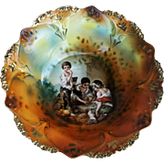 "Gorgeous RS Prussia 1900's ""Dice Throwers"" 10-3/4"" Scenic Bowl"