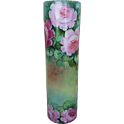 "Beautiful Royal Austria 1900's Hand Painted ""Red, Pink, & Yellow Roses"" 9-1/2"" Floral Vase"