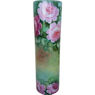 """Beautiful Royal Austria 1900's Hand Painted """"Red, Pink, & Yellow Roses"""" 9-1/2"""" Floral Vase"""