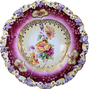 """Gorgeous RS Prussia 1900's """"Red & Peach Roses"""" Rosebud Floral Plate"""