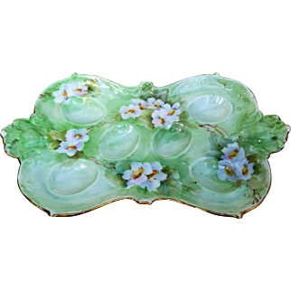 """Attractive AKD France Limoges 1900's Hand Painted """"White Pansies"""" 9-5/8"""" Floral Egg Tray Holder by Artist, """"Pearin Gehbrstt"""""""