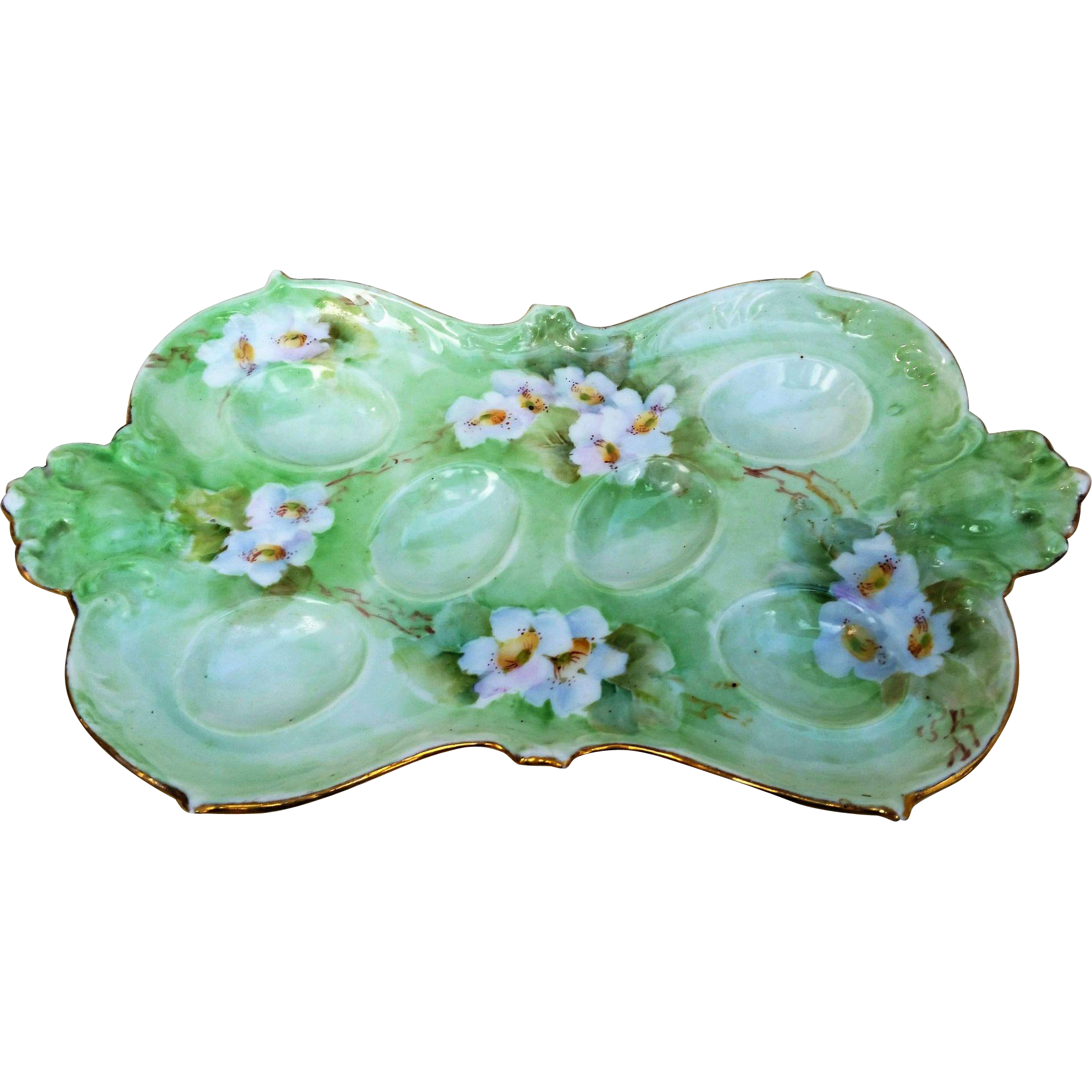 "Attractive AKD France Limoges 1900's Hand Painted ""White Pansies"" 9-5/8"" Floral Egg Tray Holder by Artist, ""Pearin Gehbrstt"""