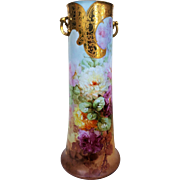 "20""+ Spectacular Limoges France 1908 Hand Painted ""Red, Pink, White, & Marigold Roses"" Floral Vase by the Listed Artist, ""Beatrice Carlsson"""