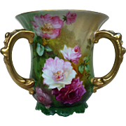 "Charming Jean Pouyat Limoges France 1900's Hand Painted ""Red & Pink Roses"" Floral Love Cup by the Artist, ""Seona"""