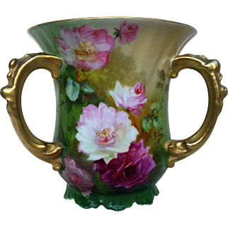 """Charming Jean Pouyat Limoges France 1900's Hand Painted """"Red & Pink Roses"""" Floral Love Cup by the Artist, """"Seona"""""""