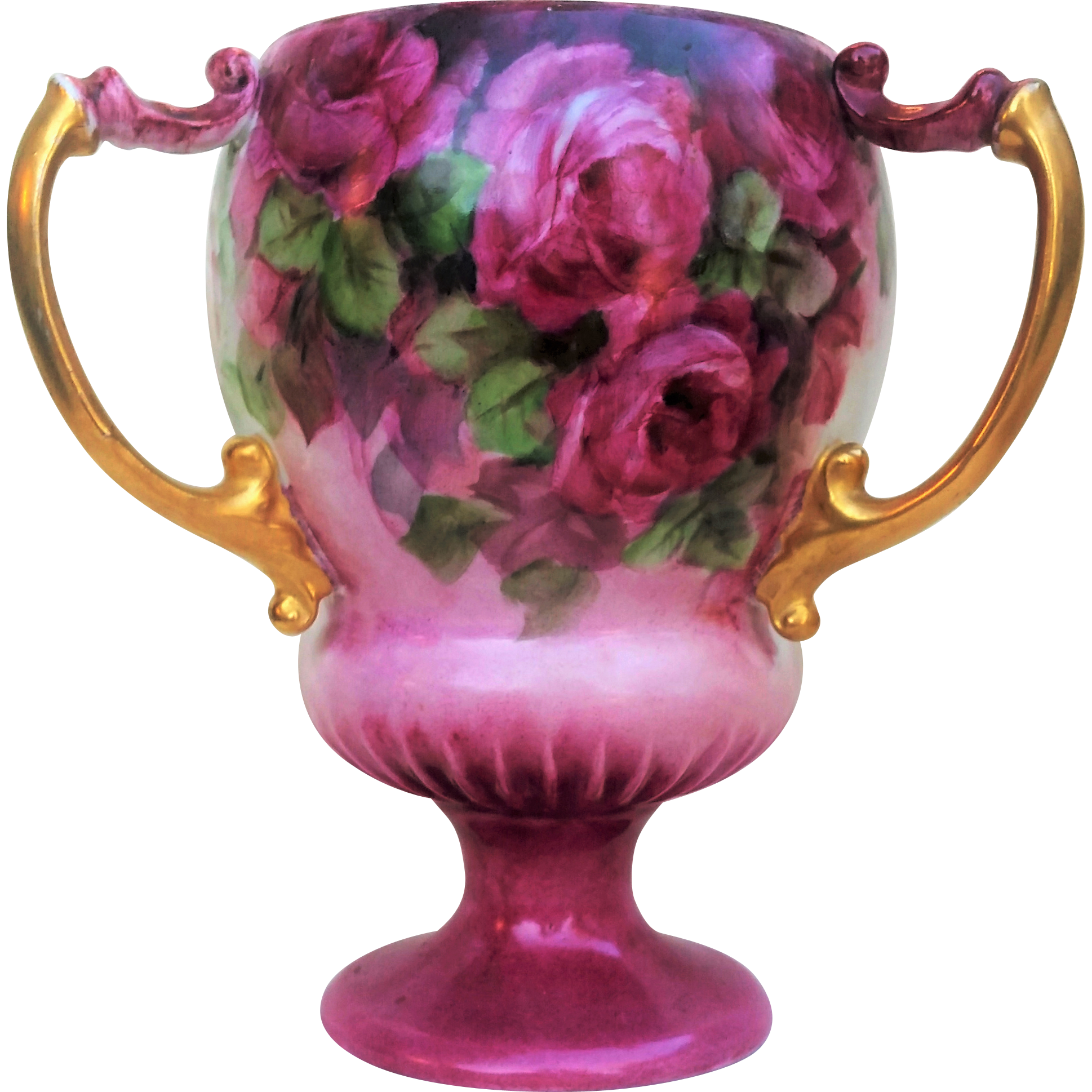 "Lovely Vienna Austria 1900's Hand Painted ""Red, Pink, & White Roses"" 3-Handle 7"" Floral Pedestal Love Cup"
